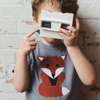 Boys' Fox T-Shirt, Grey