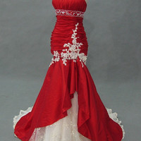 Strapless sleeveless mermaid red taffeta blue tulle appliques pleated long prom/Evening/Party/Homecoming/cocktail /Bridesmaid/Formal Dress