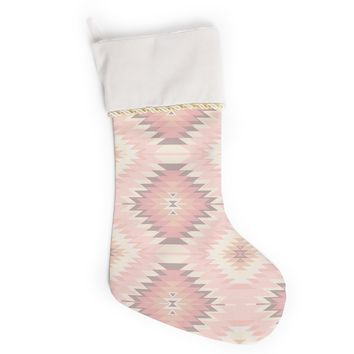 "Amanda Lane ""Soft Southwestern"" Pink Coral Digital Christmas Stocking"