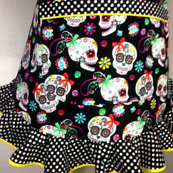 Sugar Skull Apron for Women,  Day of the Dead / Calavera / Halloween, Retro Kitchen Decor