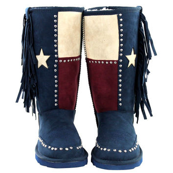 Texas Pride Silver Stud Faux Fur Lined Tall Boots