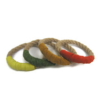 Rope Stacked Bracelets in Citrus Brights Set of 4 - Arm Party  Boho Chic Style Stack Bracelets