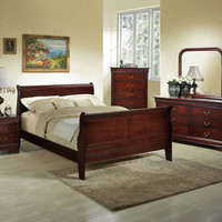 Louis Philippe Queen Cherry Bedroom Set by Lifestyle Furniture