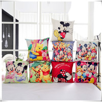 Cartoon Mickey Minnie Winnie Pooh throw / cushions / Decorative pillows (no filling) sofa bed wedding decoration pillowcase *