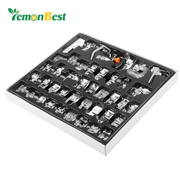LemonBest 45pcs Domestic Sewing Machine Presser  Foot Feet Kit Set Hem Foot Spare Parts Accessories for Brother Singer