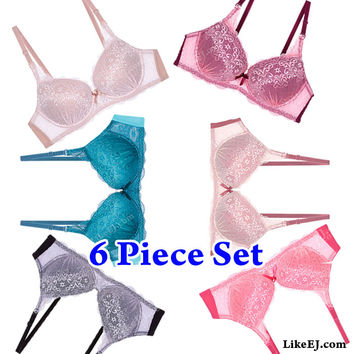 6 Colors Removable straps Two tone lace bra #8983 6pack