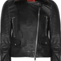 Burberry Brit | Shearling-trimmed leather biker jacket | NET-A-PORTER.COM