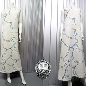 Vintage 60s PIERRE CARDIN Space Age Maxi Dress Geometric Pattern Drop Waist Column Dress Jersey Couture White and Blue Futuristic 1960s