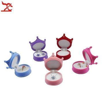 ac spbest Elegant Velvet Ring Display Box Princess Crown Shaped Earing Stud Pendant Container Little Girl Necklace Ring Storage Gift Box
