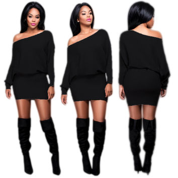 One Size Long Sleeve Bodycon Mini Dress