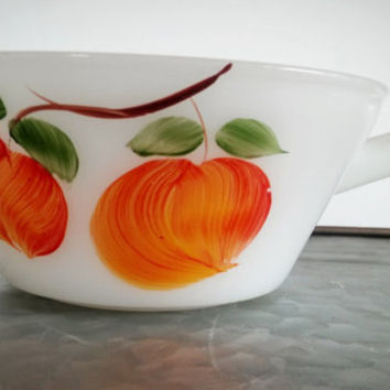 Vintage Anchor Hocking Fire King, Anchor Hocking Milk Glass Gay Fad Chili Bowl Handle Fruit Apples