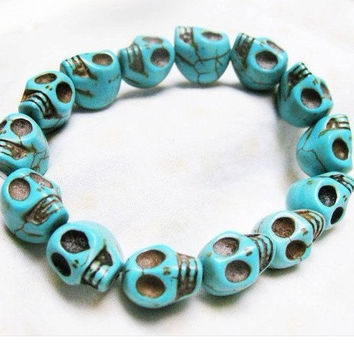 blue Turquoise skull bracelet--- Day of the death