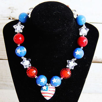 Patriotic Flag Chunky Necklace
