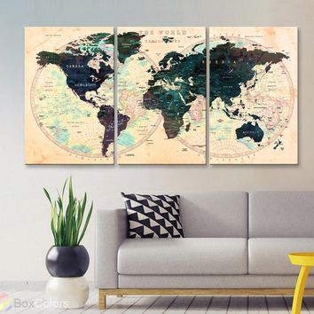 "LARGE 30""x 60"" 3panels 30x20 Ea Art Canvas Print Watercolor Map World Push Pin Travel M1803"