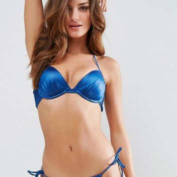 ASOS Mix and Match Glam Gathered Plunge Bikini Top at asos.com