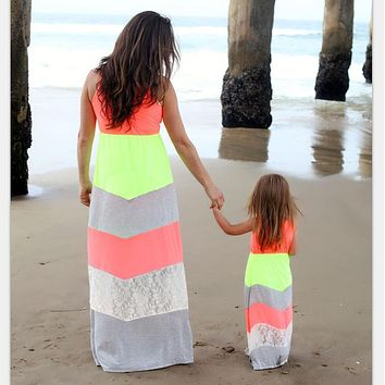 Mother Daughter Matching Long Maxi Dress - Coral, Neon, and Gray