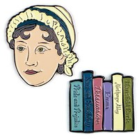 Colorful Jane Austen and Books Enamel Pins Set of 2