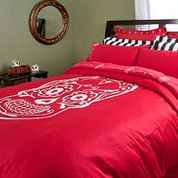 Sugar Skull Duvet Cover | Day of the Dead Bedding at Sin in Linen