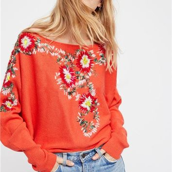2017 Autumn new flower embroidery Pullovers bright orange color sweaters boho chic bat sleeve winter sweaters knit outerwear