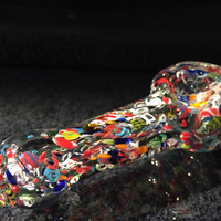 Clear Multicolor Hand Blown Glass Smoking Pipe Spoon Style Bowl Glass Pipe 3.5""