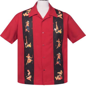 Steady Multi Pinup Girls Panel Button Up in Red Bowling Shirt