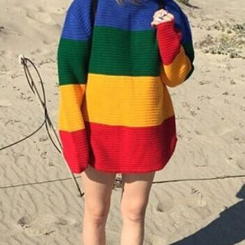 New Yellow Striped Rainbow Print Round Neck Long Sleeve Oversize Pullover Sweater