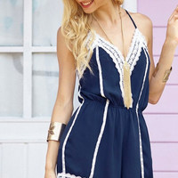Plain Lace Trim Romper