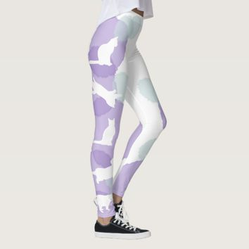 Cats Blue Violet Watercolor Effect Abstract Modern Leggings