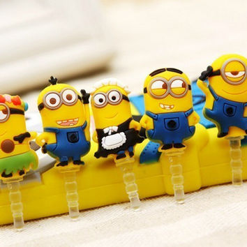 Fashion and Funny Style 3.5mm Cute Yellow Minions Design Mobile Phone Ear Cap Dust Plug For Iphone For Samsung dust plug