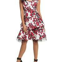 White And Red Rose Swing Dress