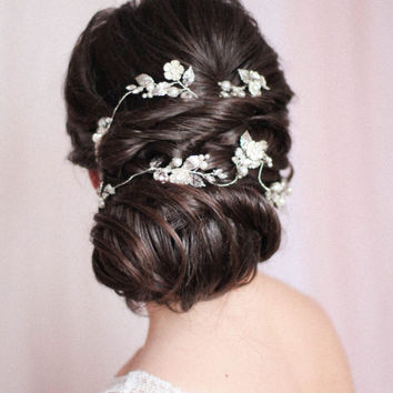 Wedding Hair Vine Wrap Extra Long Vine Piece Hair Chain Wreath Bridal Hair Piece Wedding Floral Bridal Extended Hair Wrap Wraparound