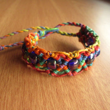 Rainbow Hemp Cuff, Macrame Jewelry, Hemp Bracelet, Pride Jewelry