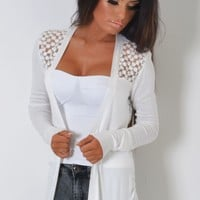 Jacaranda White Sheer Floral Knit Cardigan | Pink Boutique