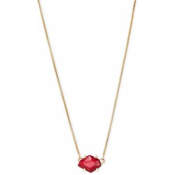 Kendra Scott  Ethan Gold Pendant Necklace In Red Mother Of Pearl 6279f40b48