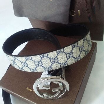 Blue Leather Belt New Gucci