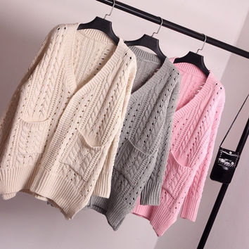 Couture Sweater Art RETRO V-Neck Collar Sweater Cardigan Coat