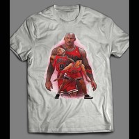 CHICAGO TRIO MICHAEL JORDAN, PIPPEN, & RODMAN ART T-SHIRT