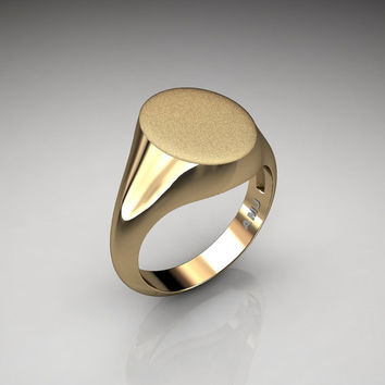 Gentlemens Modern 14K Yellow Gold Oval Signet Ring R487M-14KSYG