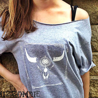 Gypsy  arrow skull Shirt,  Bohemian. Tshirt, Off The Shoulder, Over sized,   graphic tee, mizzombie grunge bohemian native