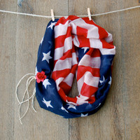 4th of July American Flag Infinity Scarf Red White and Blue Scarf w/ Braided Hemp and Rose Cuff