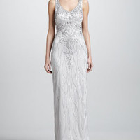 Beaded Satin Gown
