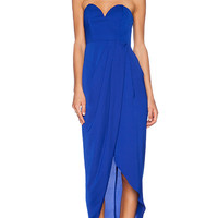 Shona Joy Bustier Draped Maxi Dress in Royal