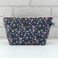 Navy & Floral Makeup Bag // Wash Bag // Toiletry Bag with waterproof lining