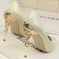 Sexy Mental Heel Women Shoes Satin Or Glittery leather High Heels Women Pumps Flower Metal Heel Stiletto 11colors Wedding shoes