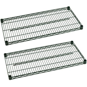 "Commercial Heavy Duty Walk-In Box Green Epoxy Wire Shelves 18"" x 42"" (Pack of 2)"