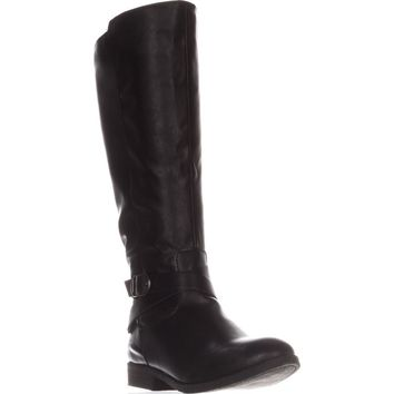 SC35 Madixe Wide-Calf Riding Boots, Black, 6 US