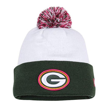 New Era NFL 2014 Green Bay Packers White Breast Cancer Awareness Knit Pom Beanie Hat