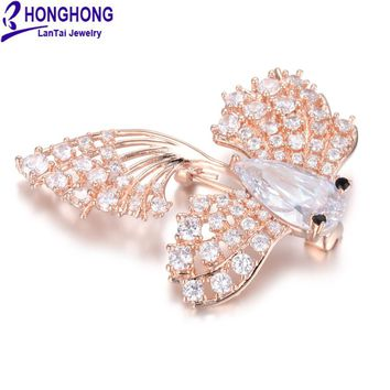 HONGHONG 2017 NEW High-quality zircon small goldfish Brooches pins for wedding bouquets broches mujer Lovely Animal Brooch