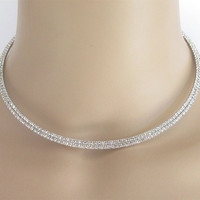 Bridal Wedding Silver Choker Row Necklace Jewelry