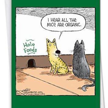 Hole Foods - Humorous Birthday Card Featuring A Pair of Funny Kitties Eating Healthy, with Envelope - Free Shipping